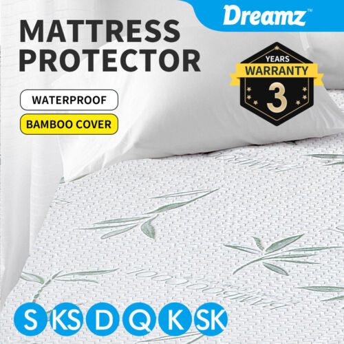 DreamZ Mattress Protector Bamboo Fitted Sheet Cover Single Double King Queen