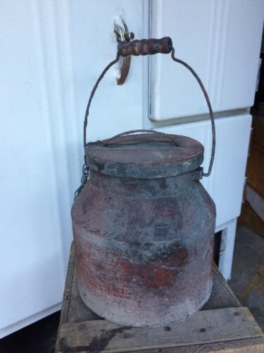 """NEW Berry Bucket Tin Small Primitive Lunch Pail w/ Lid & Wooden Handle 7"""""""
