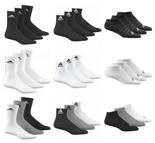 Adidas Mens Womens Socks 3 Pairs Crew Quarter No Show Sports Cotton <br/> Authentic Adidas product, Fast delivery