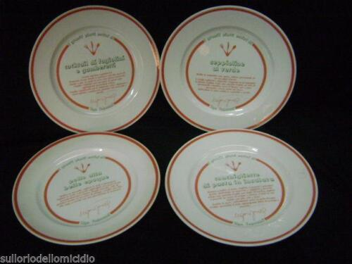 Set of quattro dishes in ceramic with recipes by ugo tognazzi vintage