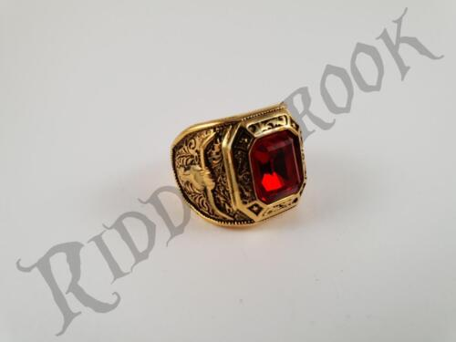 Gold Toned Stainless Steel Cowboy Ring with Ruby like Garnet PBR Bull Riders BNS
