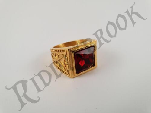 Gold Toned Stainless Steel Ring with Red Ruby like Garnet biker