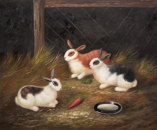 Rabbits in the Farm,  No.- 7,    20x24, 100% Hand painted Oil Painting on Canvas