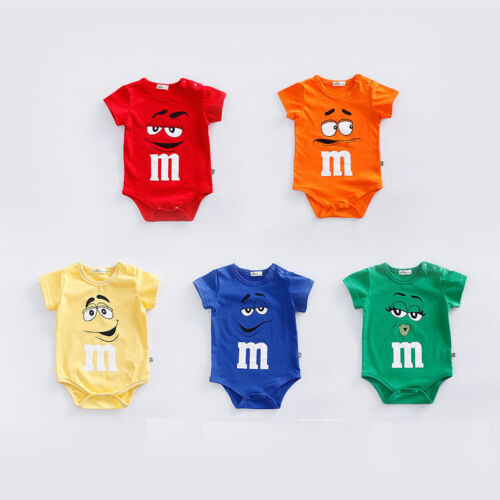 NEW BABY BOY GIRL SUMMER FUNNY M BEANS ROMPER NEWBORN TODDLE BABYGROWS PLAYSUITS