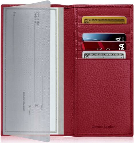 New Genuine Leather Checkbook Cover Card Holder Wallet Unisex RFID Blocking