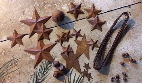 Special Listing sjt862010 Rusty Metal Stars Bells Wire Sample Lot Craft Supplies