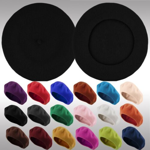 Classic Traditional Women's Men's Solid Color Plain Wool French Beret One Size