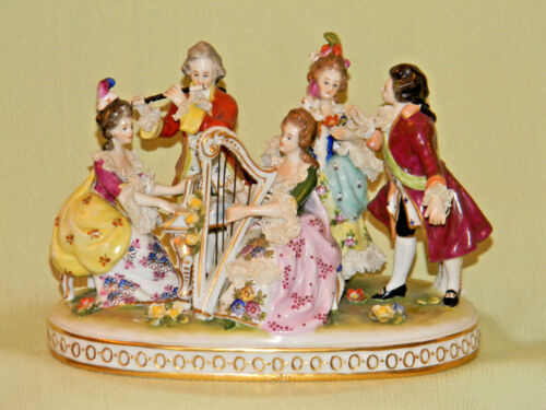 Antique DRESDEN MUSICAL LANCE 5 Figurine Victorian Group
