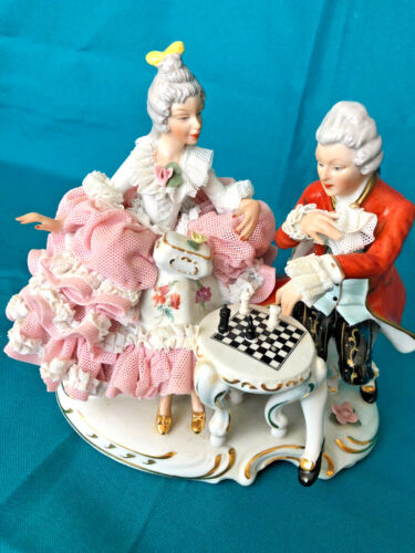 Antique DRESDEN WOMAN and MAN Play Chess PORCELAIN FIGURINE Dresden Couple