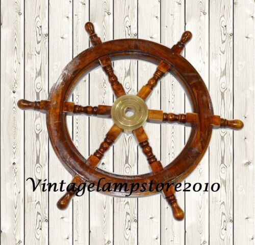 "Vintage Wooden Maritime Decor 24"" Captains Shipwheel Ships Wheel Steering Helm"