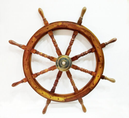 "36"" Nautical Marine Wooden Steering Ship Wheel Pirate Captain Ship Wall Hanging"