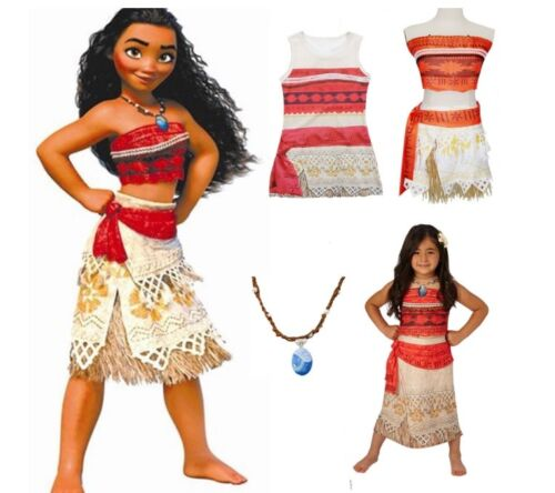NEW Girls Moana Movie Princess Cosplay Dress Costume Skirt with Free Necklace