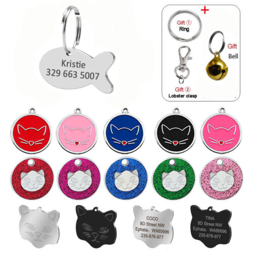Personalized Cat Tag Engraved Anti Loss Kitty Kitten Name ID Tag Fish Round Bell