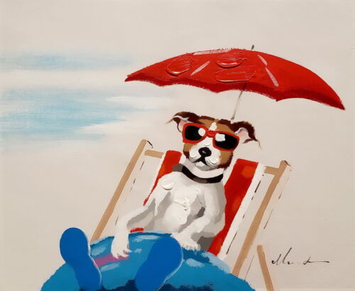 Modern Art, Dog Vacation - #3,  20x24, Hand painted on Giclee Canvas,