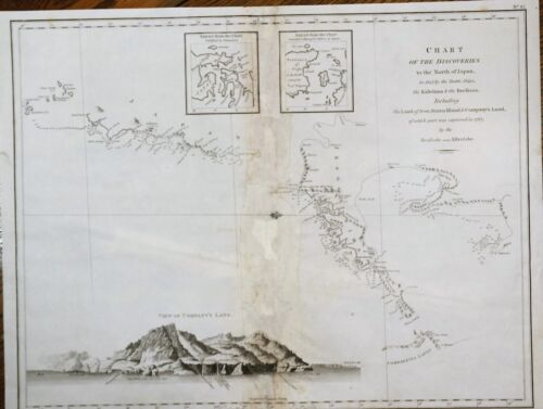 Perouse Map - CHART OF DISCOVERIES TO THE NORTH OF JAPAN -  Engraving - 1798