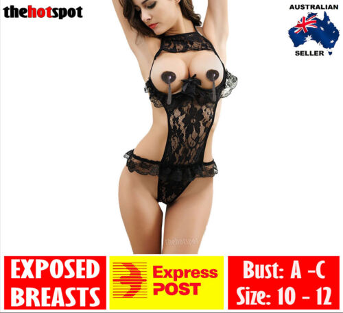 Sexy Lace Exposed Breasts Erotic Transparent Lingerie Teddy Costume FAST POST