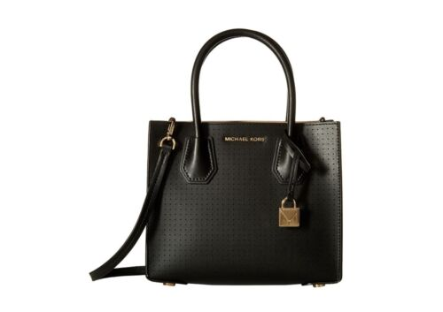 b58986782927 MICHAEL KORS Mercer Perforated Leather Crossbody Black Bag with Dustbag BNWT