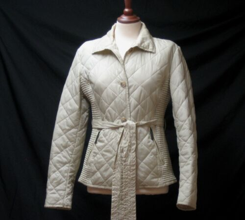 FERAUD BEIGE QUILTED PADDED JACKET COAT LOGO LINED BELTED UK 14
