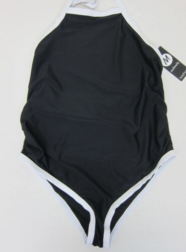 Boohoo Women's Maternity Jess Color Block Swimsuit US 8 Black  NWT