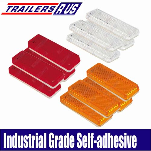 12 x Mixed Red Amber White Reflector 85mm x 22mm Self Adhesive Trailer Caravan
