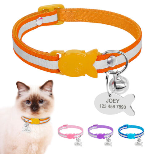 Cat Collar Breakaway Personalized Safety Reflective Kitten Collar with Bell