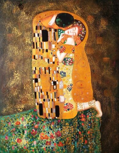 """""""Kiss"""" by Gustav Klimt,36x48 Hand painted Reproduction Oil painting on Canvas,"""