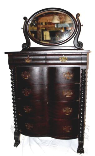 Antique American Empire Mahogany Dresser w/ Beveled Tilt Mirror & Barley Twists