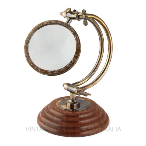 Magnifying Glass - Curved Arm (Henry Hughes) -VINTAGE NAUTICAL AUSTRALIA