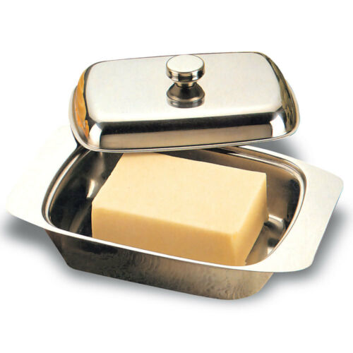 Integra Elite Stainless Steel Butter Spread Tray Holder Container Dish w/ Lid
