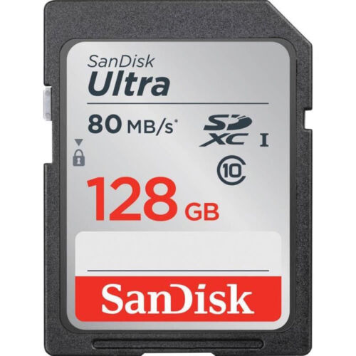 SanDisk 128GB Ultra Fast SDXC SDUNC Class 10 UHS-I 80MB/s SD Memory Card Full HD