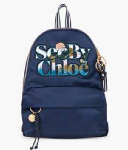 SEE BY CHLOE NAVY Nylon Andy Backpack Adjustable Straps with Gold Tone Hardware  <br/> 10% off with code PANTSUIT. STOREWIDE! ONE MONTH ONLY!