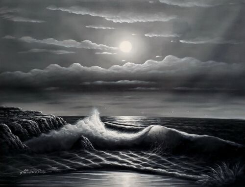 Ocean wave- B/W #1,  36x48, 100% Hand Painted Oil Painting on Canvas,