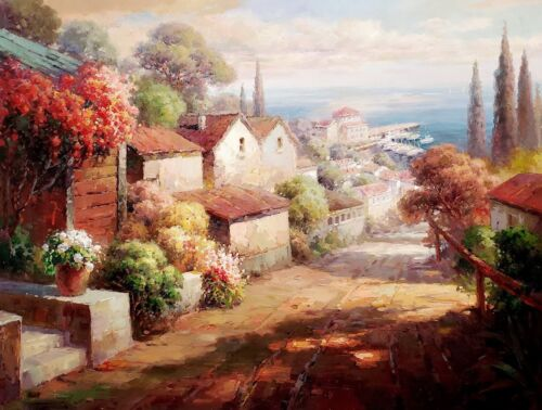 Mediterranean Down Hill,  36x48 100% Hand painted Oil painting on Canvas,
