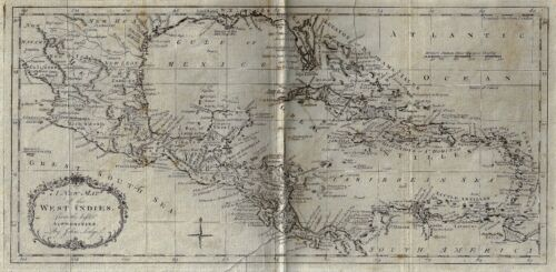 """Lodge's Fine Antique Map """"A NEW MAP OF THE WEST INDIES"""" - Copper Engraving -1778"""