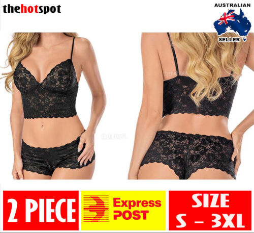 Sexy Camisole Lace Lingerie Small to Plus Size Boy Leg Panties Erotic FAST POST