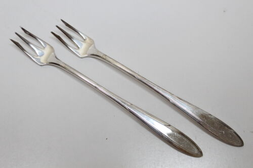 2 Vintage Nobility Plate 1937 Reverie Pattern Silverplate Cocktail/Seafood Forks