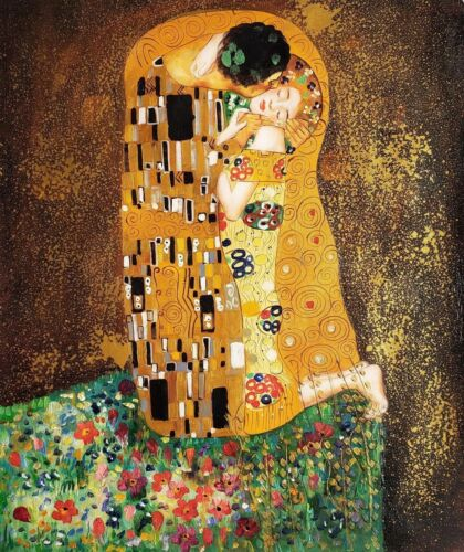 """""""The Kiss"""" by Klimt , 20x24, Oil painting Reproduction on Canvas"""