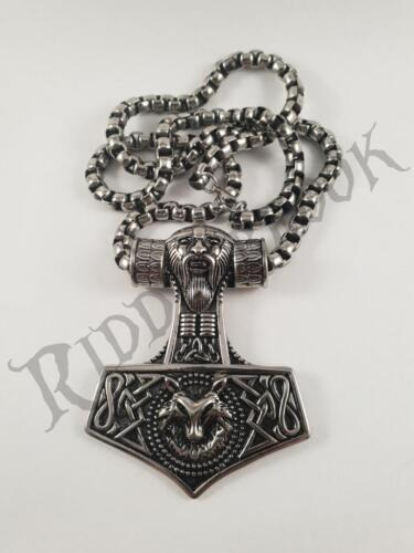 HUGE Stainless Steel Viking pendant and necklace 70cm chain Odin Thor Norse rune