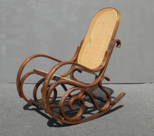 Vintage French Country Thonet Style Cane BENTWOOD Rocking Chair Mid Century