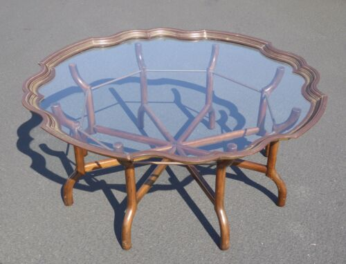 Vintage French Provincial Scalloped Brass Coffee Table Spider Feet by Baker Furn