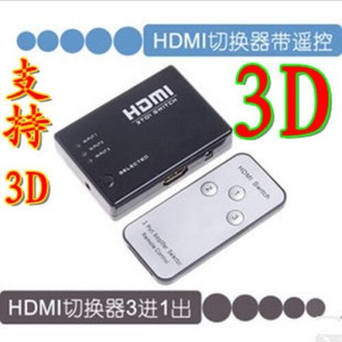 3 in 1 out HDMI Switch Selector Switcher Splitter Hub Remote Control