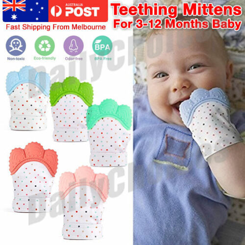Silicone Baby Teether Teething Mitt Mitten Glove Safe BPA Free Chew Dummy Toy AU