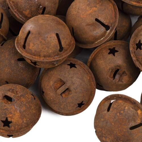 "20~ Rusty Metal Star Cutout Jingle Bells 1.5"" 1 1/2 inch Holiday Decoration 38mm"