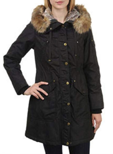 1 Madison Expedition Women's Faux Fur Hooded Parka Jacket Black