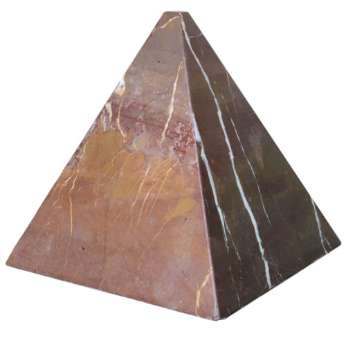 Piramide in Marmo Saint Thomas Rosso Red Italian Marble Pyramid Sculpture 25cm