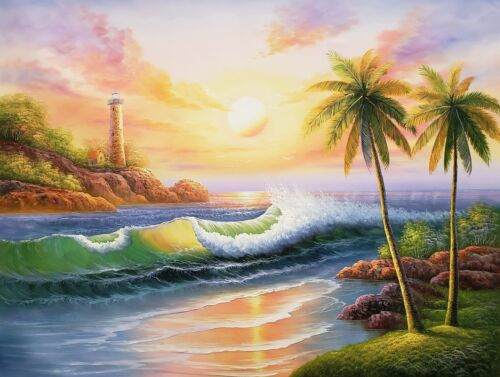 Sunset Beach - #3,  36x48, 100% Hand Painted Oil Painting on Canvas,