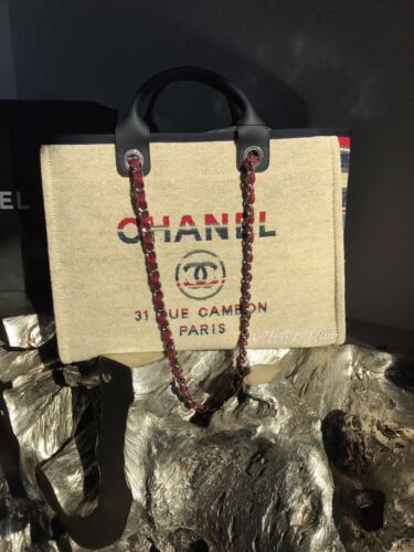 NWT CHANEL BEIGE DEAUVILLE TOTE RED BLUE GRAY LARGE GST GRAND SHOPPER 2018  18A 0d42c72a46