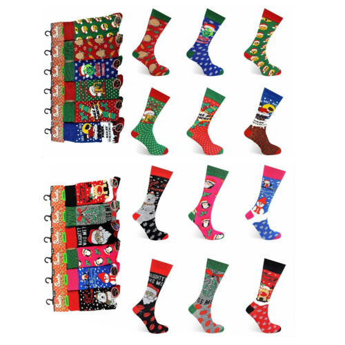 12 Packs Adults Christmas Novelty Socks Funny XMAS Gifts Festive Stocking Filler