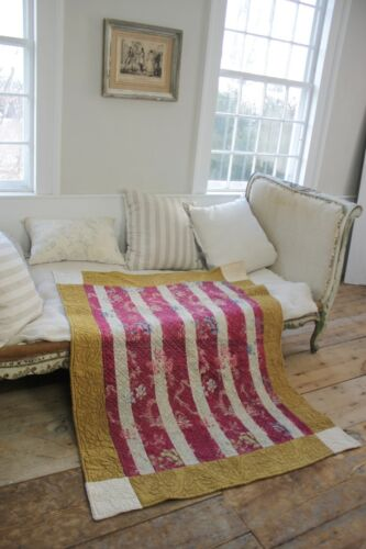 Antique quilt French Chinoiserie silk damask 18th century textile Provence