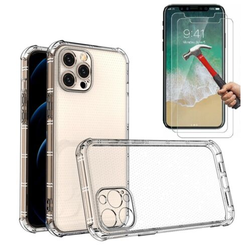Case and 2PK Screen Protectors for iPhone XR X, Xs Max 6 6S 7 Plus 8 Plus Clear